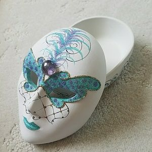 Venetian masquerade mask ceramic jewelry box